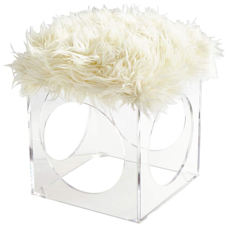 """Cyan Design Mitza 21 3/4"""" Clear and White Accent Stool"""