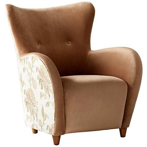 Cyan Design Throne Le Fleur Brown Velvet Tufted Armchair