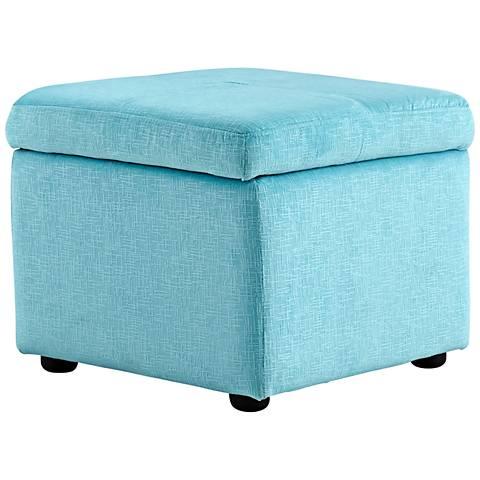 Cyan Design Huffington Blue Linen Rectangular Ottoman