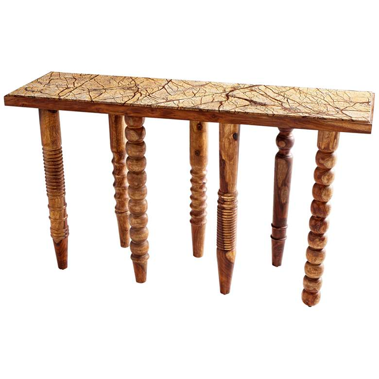 """Post Up 61"""" Wide Oak Wood Rectangular Console Table"""