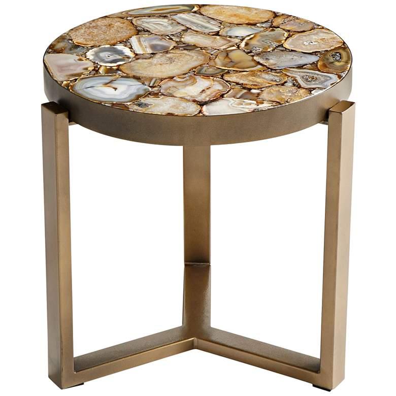 """Cyan Design Sundance  21 1/4"""" Antique Brass Round Side Table"""