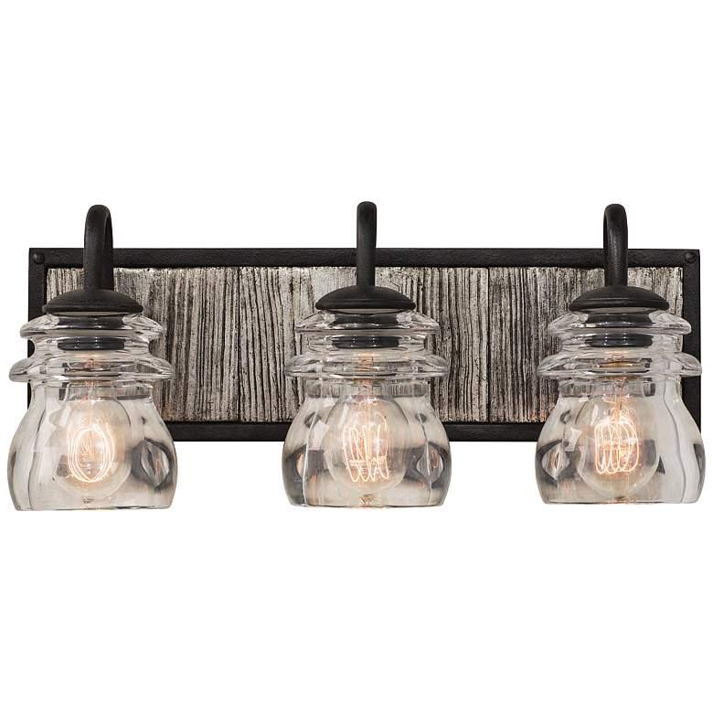"Bainbridge 19"" Wide Black Iron 3-Light Bath Light"