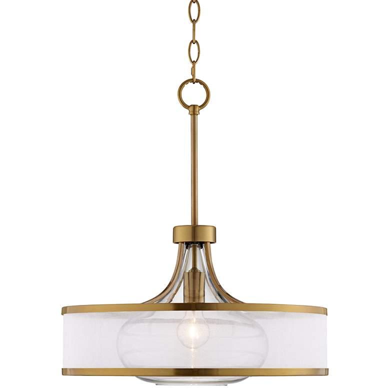 "Possini Euro Layne 19"" Wide Warm Antique Brass Pendant Light"