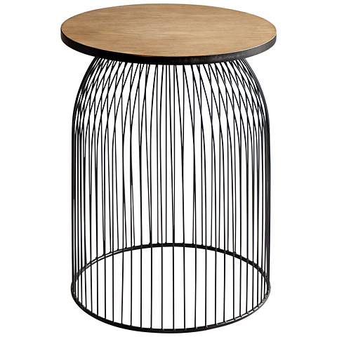 """Cyan Design Bird Cage 23 1/2"""" Graphite and Natural Accent Stool"""