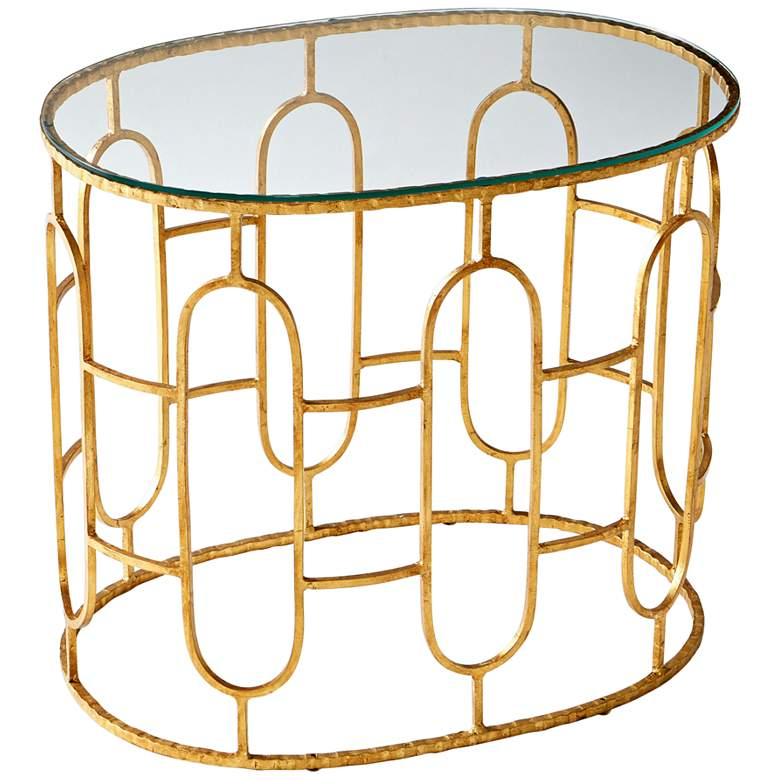 """Carmelina 28 1/2"""" Wide Glass and Gold Luxe Accent Table"""