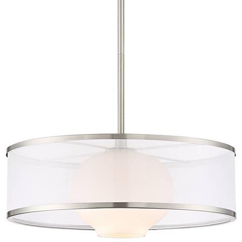 "Lexie 17"" Wide Satin Nickel Pendant Light by Possini Euro"
