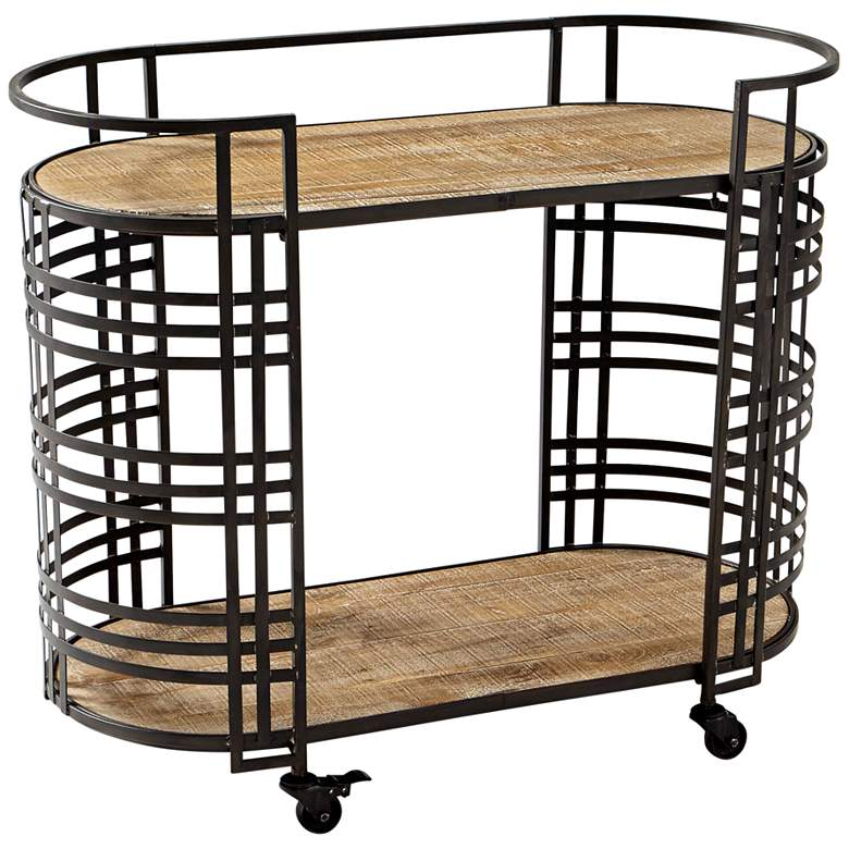 """Cyan Design 38"""" Wide Banded About Bronze and Wood Bar Cart"""