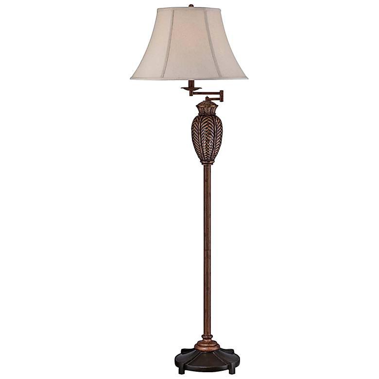 Wicker Antique Swing Arm Floor Lamp
