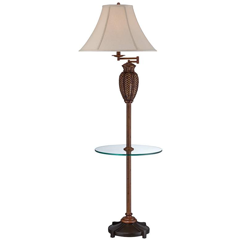 Wicker Antique Swing Arm Floor Lamp with Tray