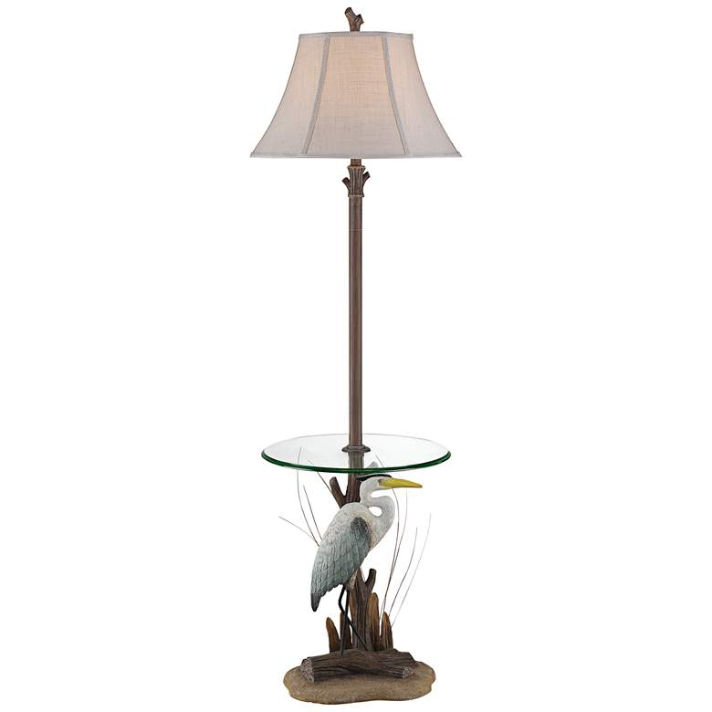 Heron Antique Floor Lamp with Glass Tray