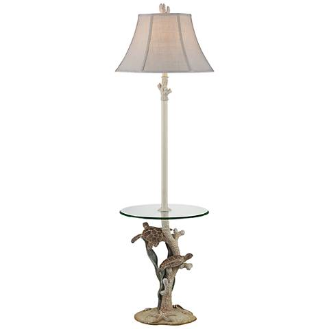 Sea Life Antique Floor Lamp with Glass Tray
