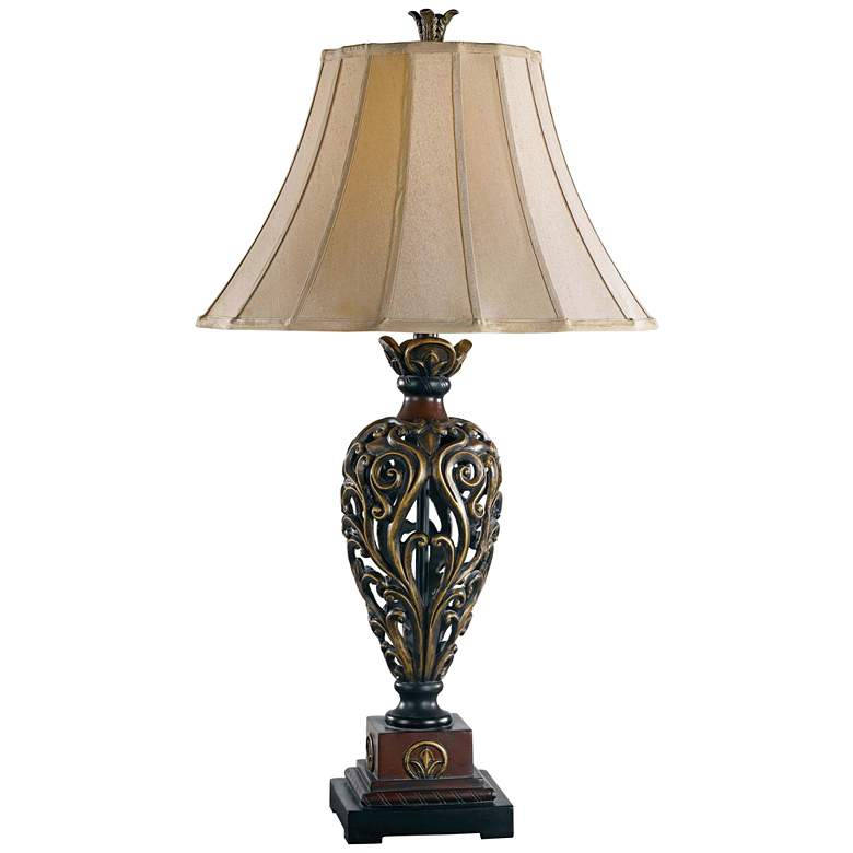 Kenroy Home Iron Lace Golden Ruby Table Lamp