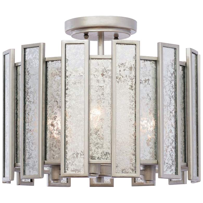 """Palisade 26"""" Wide Tarnished Silver Ceiling Light"""