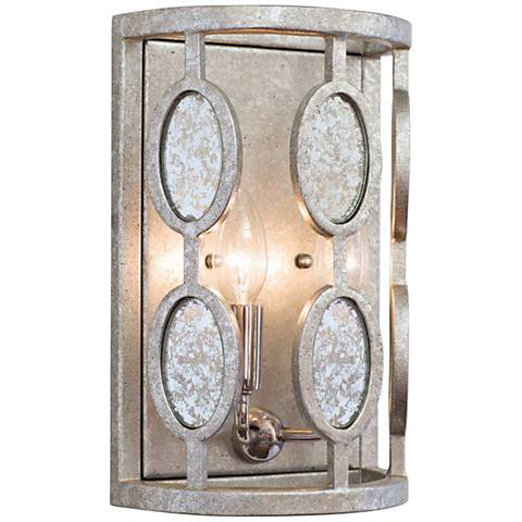 "Palomar 13"" High Vintage Silver Leaf 2-Light Wall Sconce"