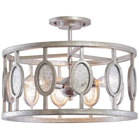 """Palomar 16"""" Wide Vintage Silver Leaf 3-Light Ceiling Light"""