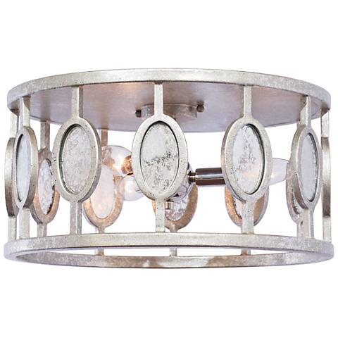 "Palomar 16"" W Vintage Silver Leaf 3-Light Flushmount Ceiling Light"