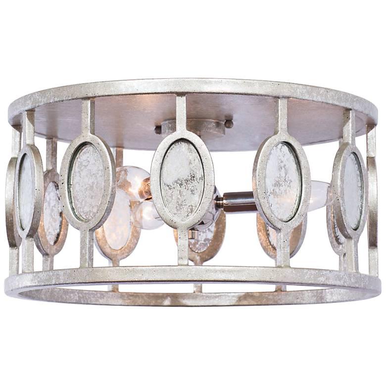 """Palomar 16"""" W Vintage Silver Leaf 3-Light Flushmount Ceiling Light"""