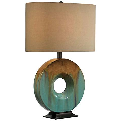 Kenroy Home Sesame Teal Ceramic Glaze Table Lamp