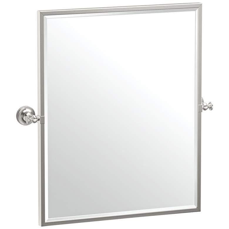 """Gatco Tavern Polished Nickel 24"""" x 25"""" Framed Wall Mirror"""