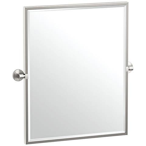 "Gatco Zone Satin Nickel 24"" x 25"" Framed Wall Mirror"