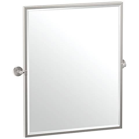 "Gatco Latitude II Satin Nickel 23 3/4"" x 25"" Wall Mirror"