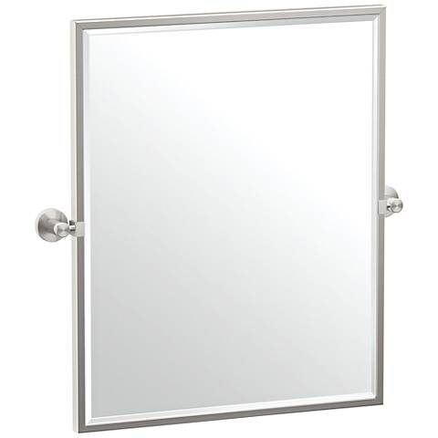 "Gatco Glam Satin Nickel 23 3/4"" x 25"" Framed Wall Mirror"