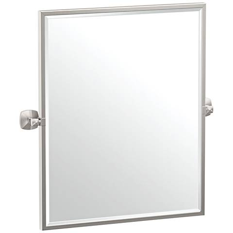 "Gatco Jewel Satin Nickel 24 1/2"" x 25"" Framed Wall Mirror"