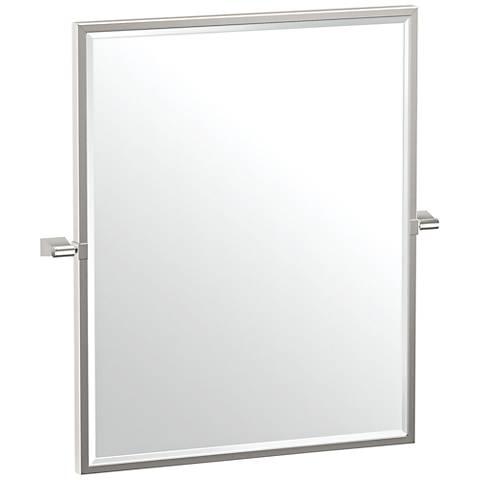 "Gatco Bleu Satin Nickel 23 1/2"" x 25"" Framed Wall Mirror"