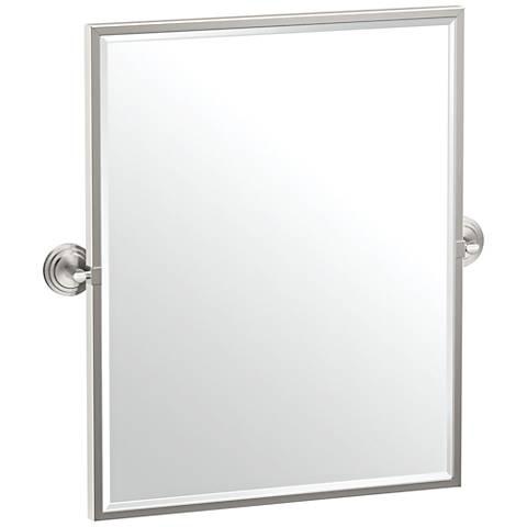 "Gatco Marina Satin Nickel 24 1/4"" x 25"" Framed Wall Mirror"
