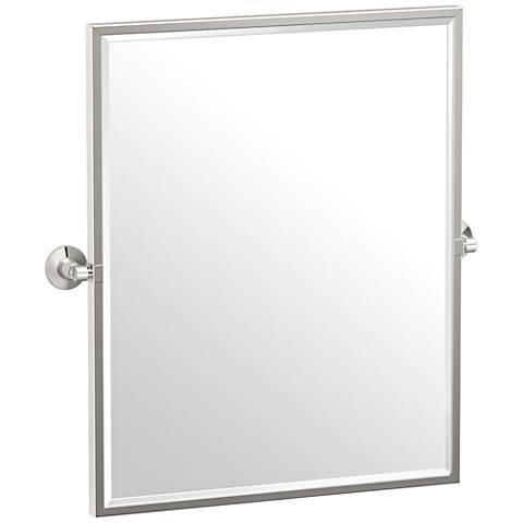 "Gatco Max Satin Nickel 24"" x 25"" Framed Wall Mirror"