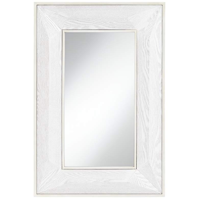 "Keily Geometric Cut White 24 3/4"" x 36 3/4"" Wall Mirror"