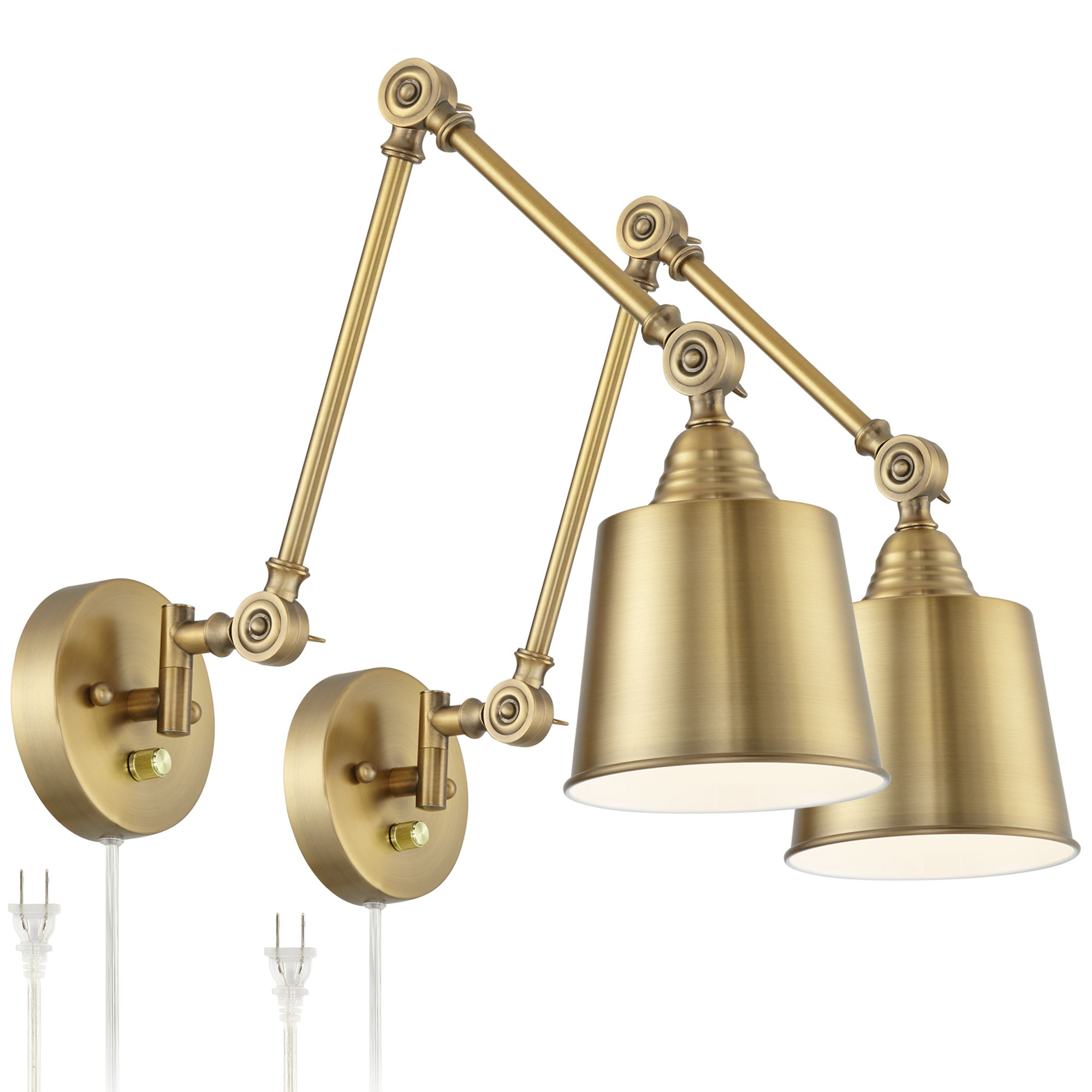 Set Of 2 Mendes Antique Brass Down Light Plug In Wall Lamps