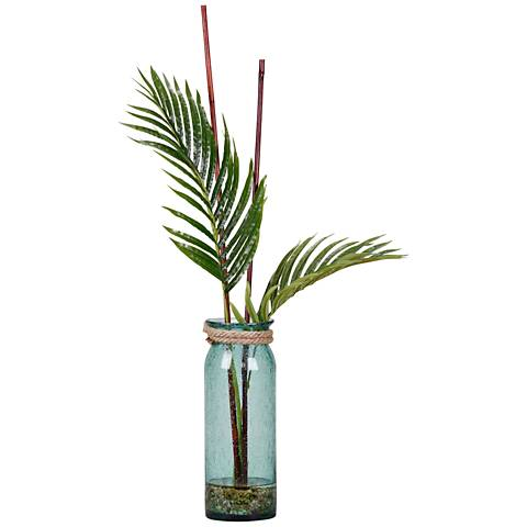 """Large Cycas Palm Fronds 36""""H Faux Plant in Glass Vase"""