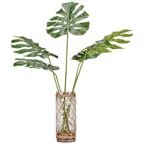 "Round Split Leaf Philos 33""H Faux Plant in Glass Vase"