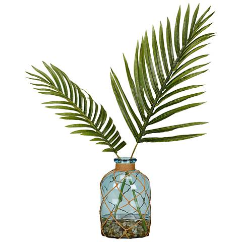 "Cycas Palm Fronds 20""H Faux Plant in Glass Bottle Vase"