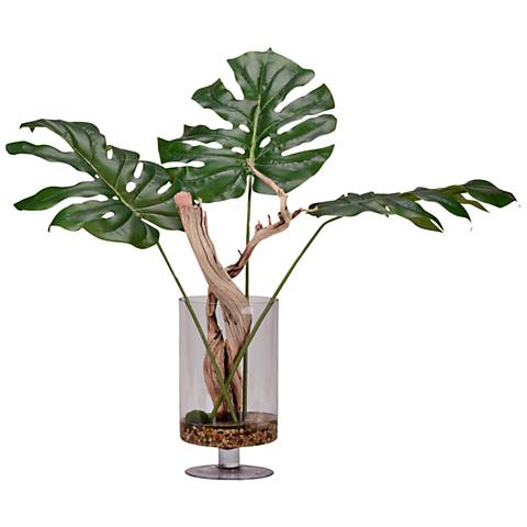 "Jumbo Arrowhead Philo Branches 30""H Faux Plant in Vase"