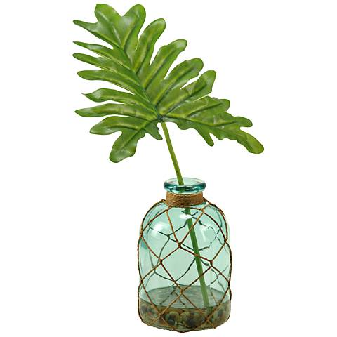 """Selloum Philo Leaf 18""""H Faux Plant in Glass Bottle Vase"""