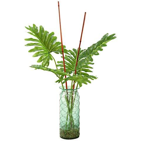 "Selloum Philo Leaf Branches 42""H Faux Plant in Glass Vase"