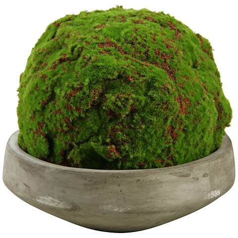 "Large Moss Ball 13""W Faux Plant in Round Concrete Bowl"