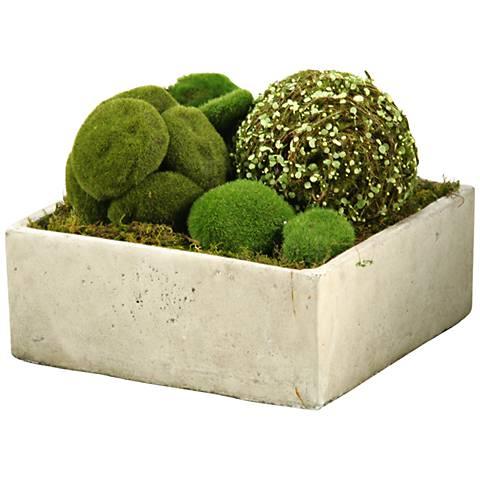 "Assorted Moss Balls 11""W Faux Plant in Concrete Planter"