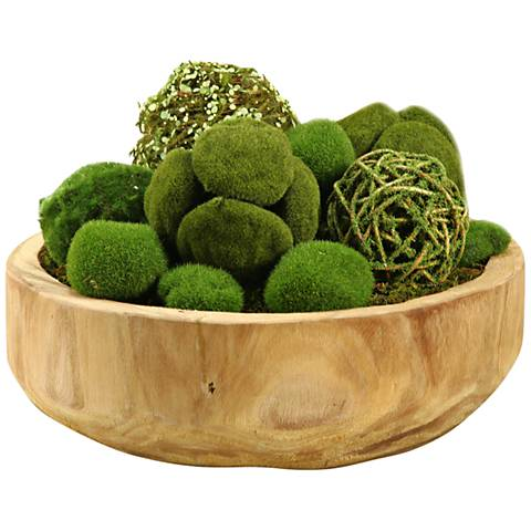 "Assorted Moss Balls 15""W Faux Plant in Round Wooden Bowl"
