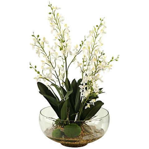 "White Baby Delphinium Orchids 27""H Faux Flowers in Bowl"