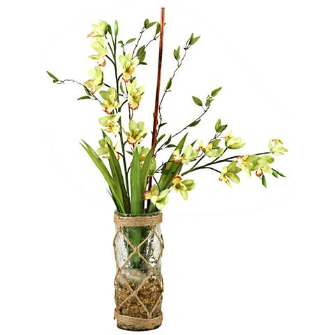 "Green and Yellow Cymbidium Orchids 32""H Faux Flowers"