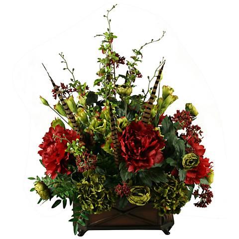 "Wine Peonies Ranunculus Hydrangeas Lizianthus 36""H Faux Flowers"