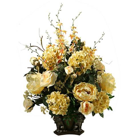 "Cream Roses Hydrangeas Peonies Dancing Orchids 36""H Faux Flowers"