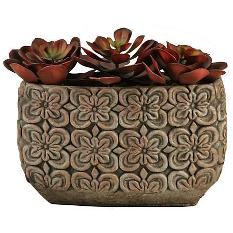 """Red Echeveria 13""""W Faux Plant in Oval Ceramic Planter"""