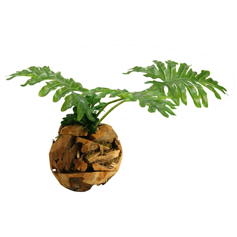 """Selloum Philo Leaves 26""""W Faux Plant in Wooden Root Ball"""