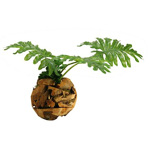 "Selloum Philo Leaves 26""W Faux Plant in Wooden Root Ball"