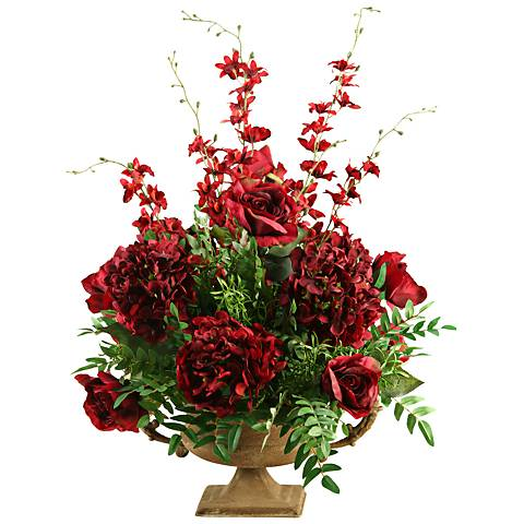 "Burgundy Roses Hydrangeas and Orchids 28 1/2""H Faux Flowers"