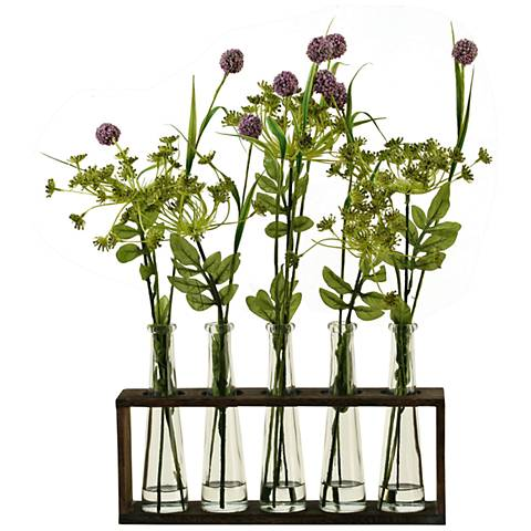 "Lavender Globe Flowers 20""H Faux Flowers in Glass Vases"